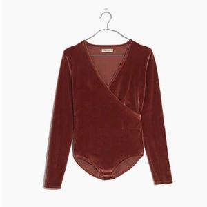 NWOT Madewell Velvet Wrap Bodysuit Size Small